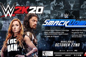 Couverture du jeu WWE 2K20 et thème de l'édition collector